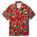 DV. LOT474 LINEN ALOHA SHIRTS -FLORAL RED-