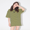 어라운드 80(AROUND 80) STRIPE SNAKE ROSE T-SHIRTS_YELLOW