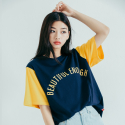 모티브스트릿(MOTIVESTREET) COLOR BLOCK SST NAVY YELLOW