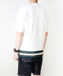 레이지(LAZY) COLOR LINE RIB T-SHIRTS WHITE