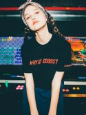 Why so embroidery crop t shirt black