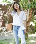 러브미백(LOVE ME BACK) COTTON WRAP BLOUSE