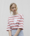 엽페(YUPPE) circle stripe T-shirts_pink