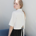 BACK SLIT CROP SHIRT WHITE