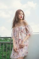 멜팅글로우(meltinglow) 나비의 정원 (baby pink)_off shoulder chiffon dress