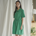 누이슈(NUISSUE) COTTON SHIRT DRESS (GREEN)