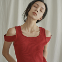 누이슈(NUISSUE) SLEEVE DETAIL KNIT (RED)