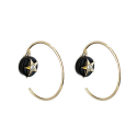 트레쥬(TREAJU) Round  black onyx gold star earring