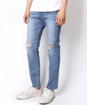 MEDIUM BLUE DISTRESSED CROP JEANS