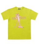 아임낫어휴먼비잉(I AM NOT A HUMAN BEING) [PPXHB] Pink Panther Leaning Against Our Logo T-Shirt - Green Yellow