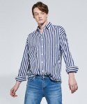 OVERSIZE STRIPE SHIRTS_NAVY