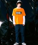피스피스(PIECEPEACE) BOX END OVERSIZED 1/2 SLEEVE ORANGE