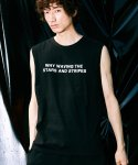 피스피스(PIECEPEACE) WHY LETTERING BASIC SLEEVELESS BLACK