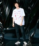 피스피스(PIECEPEACE) RED COLONY OVERSIZED 1/2 SLEEVE WHITE