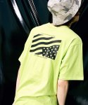 피스피스(PIECEPEACE) POCKET FLAG OVERSIZED 1/2 SLEEVE LIME