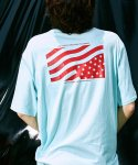 피스피스(PIECEPEACE) POCKET FLAG OVERSIZED 1/2 SLEEVE AQUA
