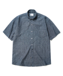 파르티멘토(PARTIMENTO) Washing Denim Chambray 1/2 Shirts Dark Indigo