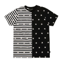 블랙스케일(BLACK SCALE) BLACKSCALE Split Stripe T-Shirt Black