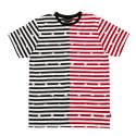 블랙스케일(BLACK SCALE) BLACKSCALE Split Stripe T-Shirt Red