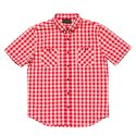 블랙스케일(BLACK SCALE) BLACKSCALE Gingham Plaid Short Sleeve Button Down Red