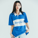 모티브스트릿(MOTIVESTREET) LINE COLLAR TEE BLUE