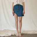 어나더에이(ANOTHER A) Cutout denim skirt (blue)