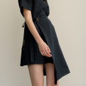 어나더에이(ANOTHER A) Linen wrap skirt (navy)