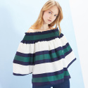 룩캐스트(LOOKAST) GREEN STRIPE OFF SHOULDER BLOUSE