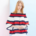 룩캐스트(LOOKAST) RED STRIPE OFF SHOULDER BLOUSE