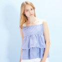룩캐스트(LOOKAST) BLUE STRIPE SLEEVELESS FLARE TOP