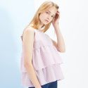 룩캐스트(LOOKAST) PINK STRIPE SLEEVELESS FLARE TOP