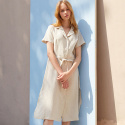 BEIGE LINEN SHORTSLEEVE DRESS