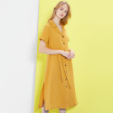 룩캐스트(LOOKAST) MUSTARD LINEN SHORTSLEEVE DRESS