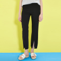 BLACK SEMI WIDE FRONT SLIT PANTS