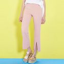 룩캐스트(LOOKAST) PINK SEMI WIDE FRONT SLIT PANTS