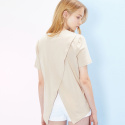 룩캐스트(LOOKAST) BEIGE BACK SLIT TSHIRTD