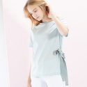 룩캐스트(LOOKAST) MINT SIDE EYELET RIBBON TSHIRT