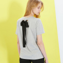 룩캐스트(LOOKAST) GREY BACK EYELET RIBBON TSHIRT