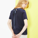 룩캐스트(LOOKAST) NAVY BACK EYELET RIBBON TSHIRT