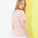 룩캐스트(LOOKAST) PINK BACK EYELET RIBBON TSHIRT
