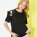 룩캐스트(LOOKAST) BLACK OPEN SHOULDER RIBBON TSHIRT