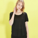 룩캐스트(LOOKAST) BLACK BASIC LINEN TSHIRT