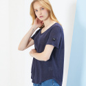 룩캐스트(LOOKAST) NAVY BASIC LINEN TSHIRT