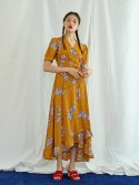 미드나잇 서커스(MIDNIGHT CIRCUS) Wrap Maxi Dress in Mustard