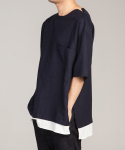 Linen layered pullover shirts_Navy