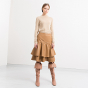 WAVES SKIRT CAMEL (TIERED SHIRRING SKIRT)