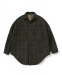 라퍼지스토어(LAFUDGESTORE) (Unisex)Melton Over Shirt Coat Check_Khaki