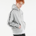 TAPED ZIP UP HOODIE GRAY
