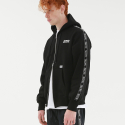 TAPED ZIP UP HOODIE BLACK