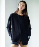 프레리(PRAIRIE) [UNISEX] BIO-WASHED MID SLIT SWEAT-SHIRT (Black)